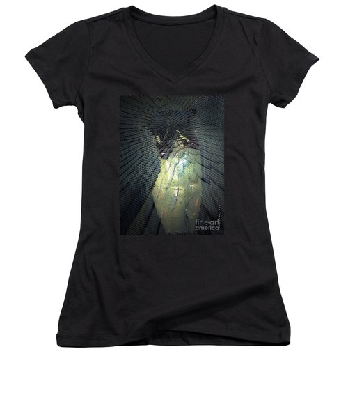 Women's V-Neck T-Shirt (Junior Cut) featuring the photograph Morphing by Irma BACKELANT GALLERIES