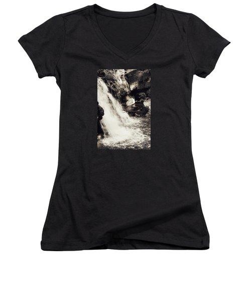 Women's V-Neck T-Shirt (Junior Cut) featuring the photograph Morrell Falls 7 - 2015 by Janie Johnson