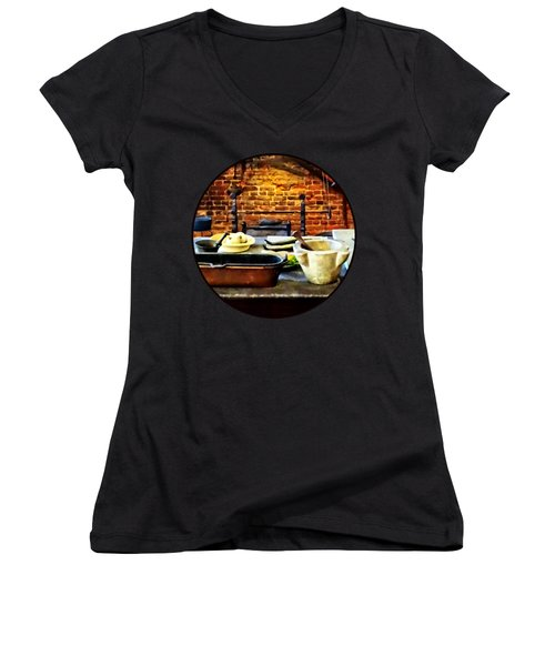 Mortar And Pestles In Colonial Kitchen Women's V-Neck T-Shirt (Junior Cut) by Susan Savad