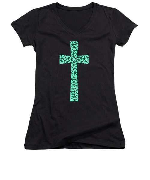 Mosaic Cross Aqua Women's V-Neck T-Shirt