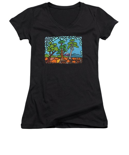 Mosaic Trees Women's V-Neck T-Shirt (Junior Cut) by Anthony Mwangi