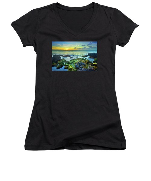 Women's V-Neck T-Shirt (Junior Cut) featuring the photograph Moss Covered Rocks At Sunset In Molokai by Tara Turner