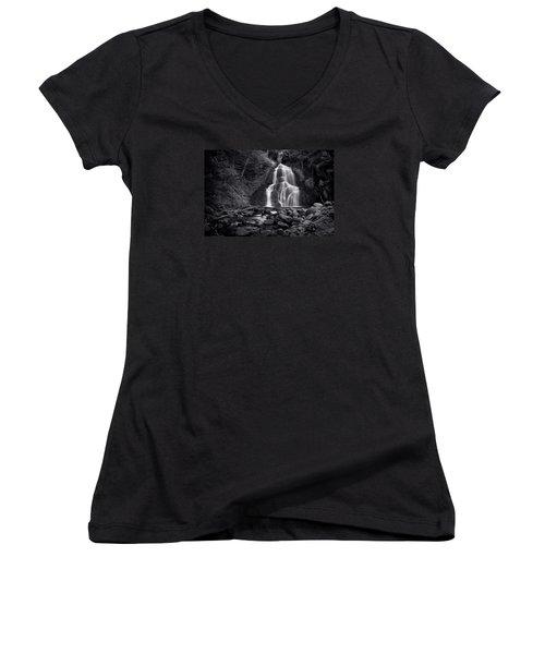 Women's V-Neck T-Shirt (Junior Cut) featuring the photograph Moss Glen Falls - Monochrome by Stephen Stookey