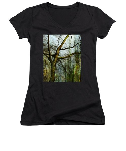 Moss On Tree Women's V-Neck (Athletic Fit)