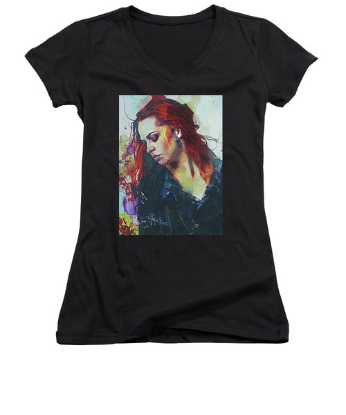 Women's V-Neck T-Shirt (Junior Cut) featuring the digital art Mostly- Abstract Portrait by Galen Valle