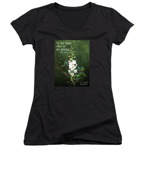 Moth Mullein Women's V-Neck T-Shirt (Junior Cut) by Gena Weiser