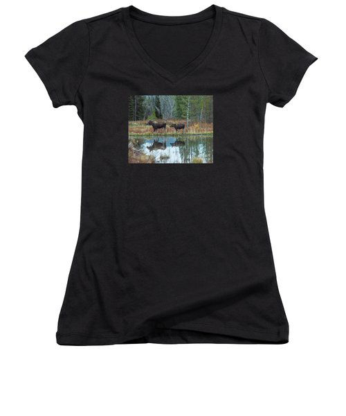 Women's V-Neck T-Shirt (Junior Cut) featuring the photograph Mother And Baby Moose Reflection by Rebecca Margraf