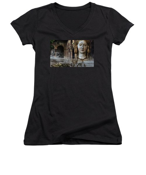 Mother Earth Women's V-Neck T-Shirt (Junior Cut) by Yvonne Wright