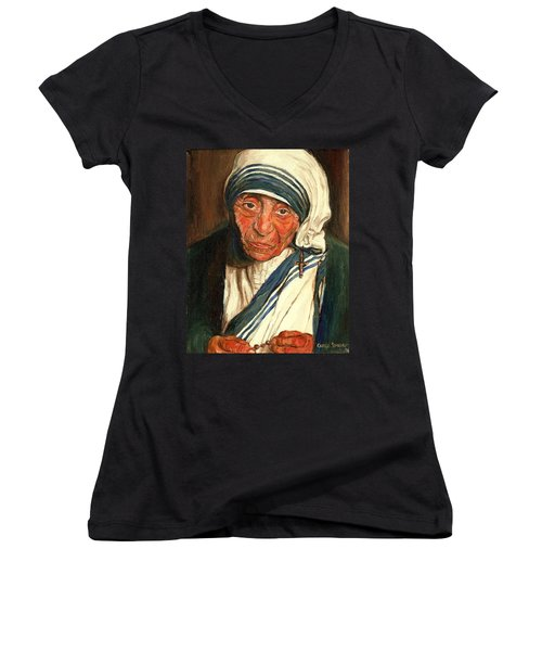 Women's V-Neck T-Shirt (Junior Cut) featuring the painting Mother Teresa  by Carole Spandau