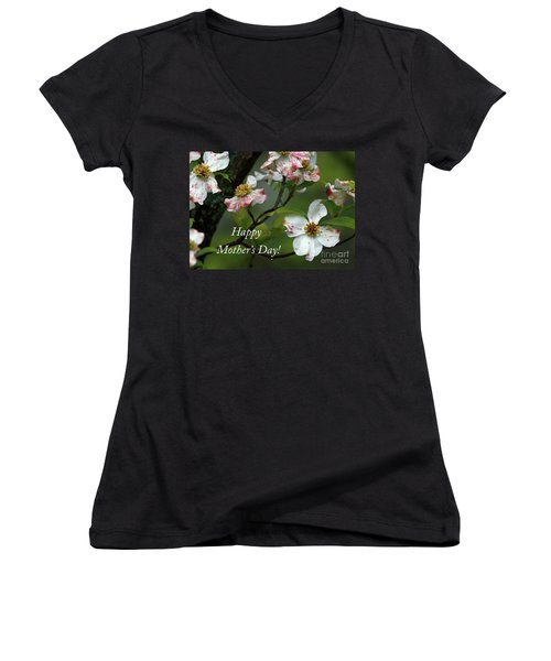 Mother's Day Dogwood Women's V-Neck T-Shirt (Junior Cut) by Douglas Stucky