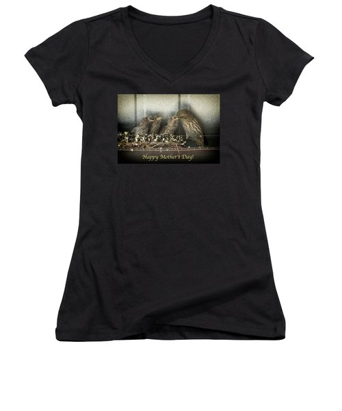 Mother's Day Greetings Women's V-Neck T-Shirt (Junior Cut) by Alan Toepfer