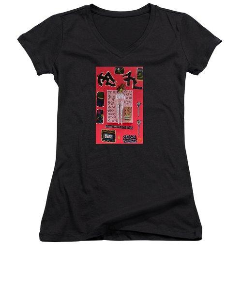 Motherwort Herbal Tincture Women's V-Neck T-Shirt (Junior Cut) by Clarity Artists