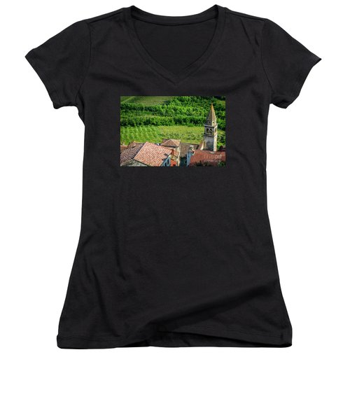 Motovun Istrian Hill Town - A View From The Ramparts, Istria, Croatia Women's V-Neck