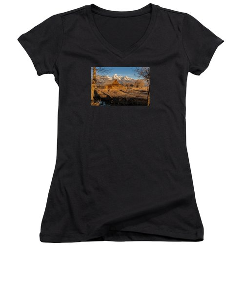 Women's V-Neck T-Shirt (Junior Cut) featuring the photograph Moulton Barn by Gary Lengyel