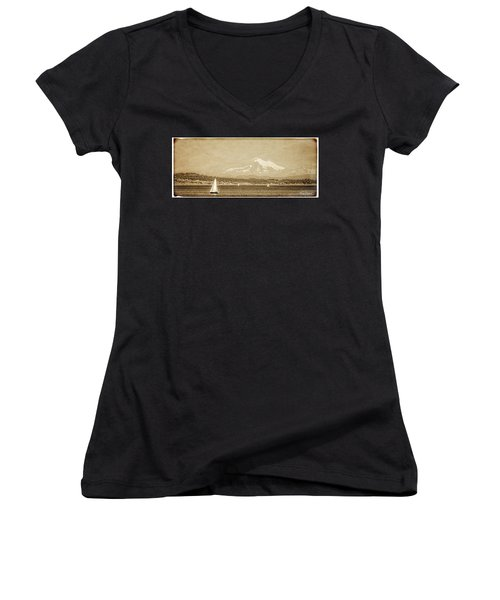 Women's V-Neck featuring the photograph Mount Baker 10 Mile Point by Roxy Hurtubise