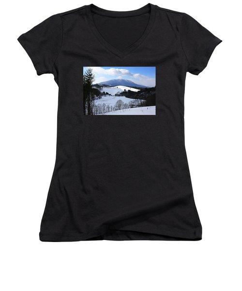 Mount Jefferson Winter Women's V-Neck T-Shirt (Junior Cut) by Dale R Carlson