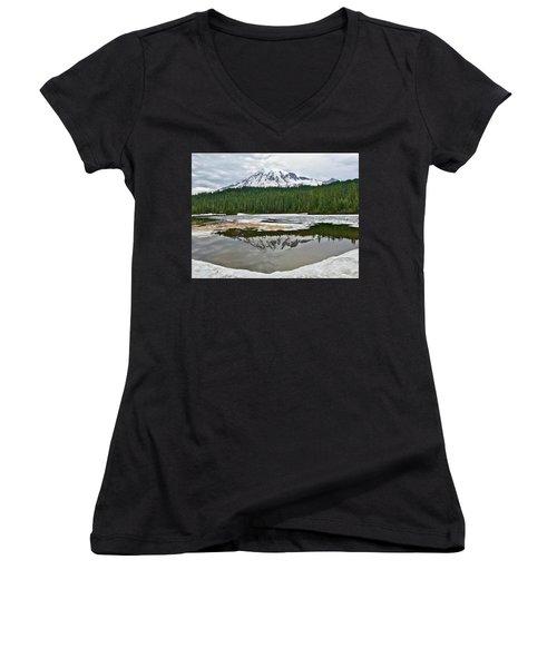 Mount Rainier From Reflection Lakes Women's V-Neck