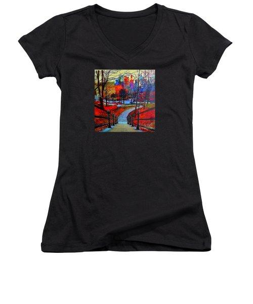 Women's V-Neck T-Shirt (Junior Cut) featuring the painting Mount Royal Peel's Exit by Marie-Line Vasseur