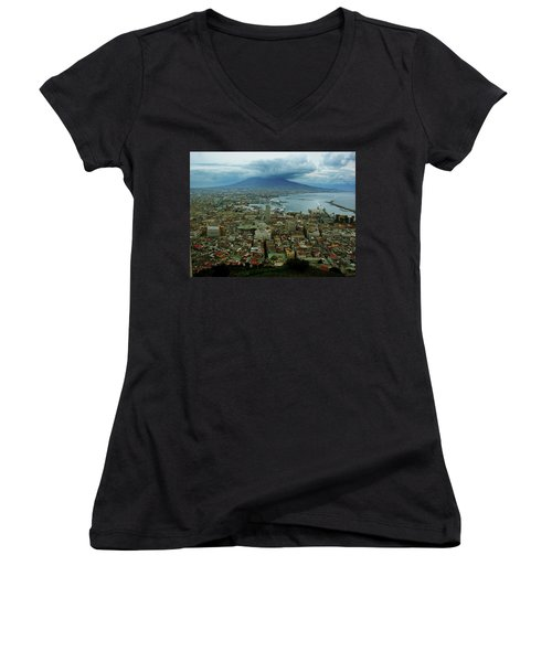 Mount Vesuvius Naples It Women's V-Neck T-Shirt