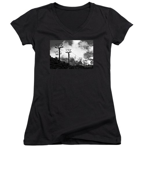 Women's V-Neck T-Shirt (Junior Cut) featuring the photograph Mountain Cable Road Waiting For Snow by Yurix Sardinelly