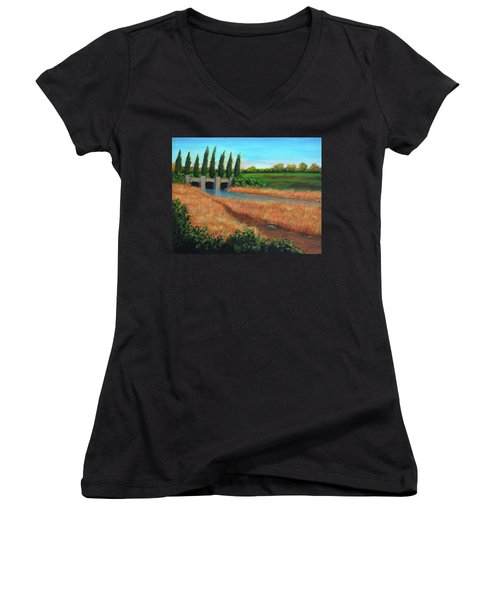 Mountain House In The Fall Women's V-Neck (Athletic Fit)
