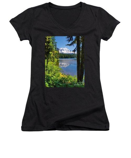 Mountain Lake Reflections Women's V-Neck T-Shirt