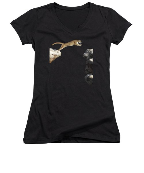 Mountain Lion Leaping Women's V-Neck T-Shirt (Junior Cut) by Wildlife Fine Art