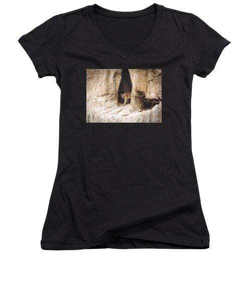 Mountain Lion - Light Women's V-Neck T-Shirt