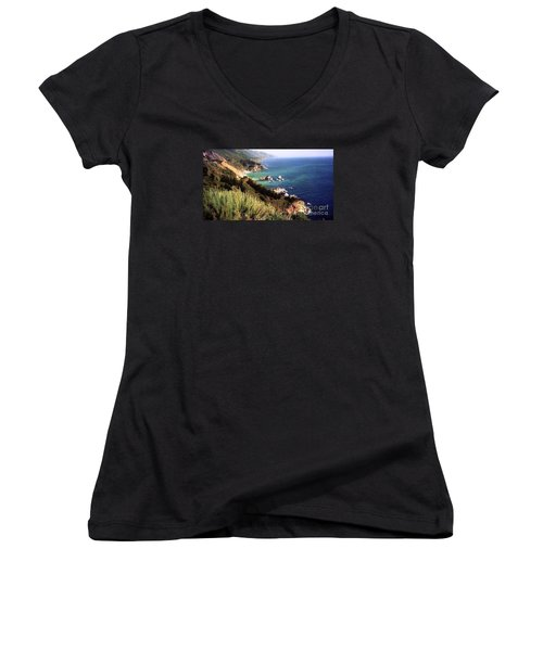 Mountain On Calif Pacific Ocean Women's V-Neck T-Shirt