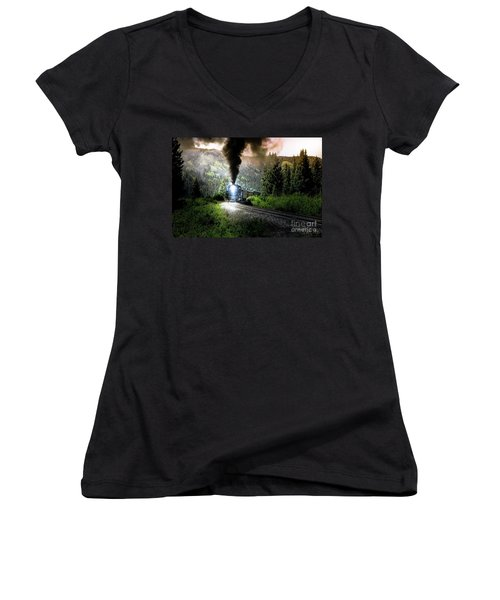 Women's V-Neck T-Shirt (Junior Cut) featuring the photograph Mountain Railway - Morning Whistle by Robert Frederick