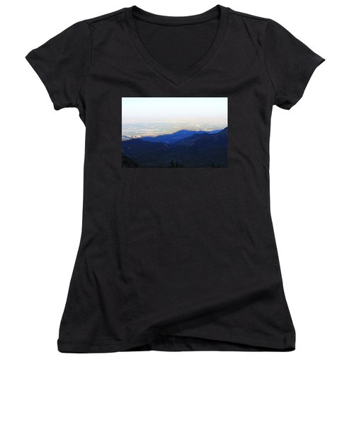 Women's V-Neck T-Shirt (Junior Cut) featuring the photograph Mountain Shadow by Christin Brodie