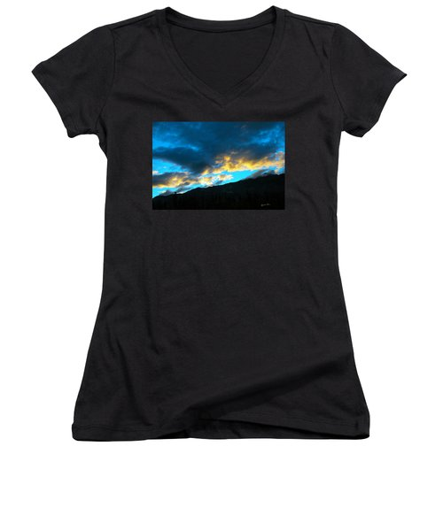 Women's V-Neck T-Shirt (Junior Cut) featuring the photograph Mountain Silhouette by Madeline Ellis