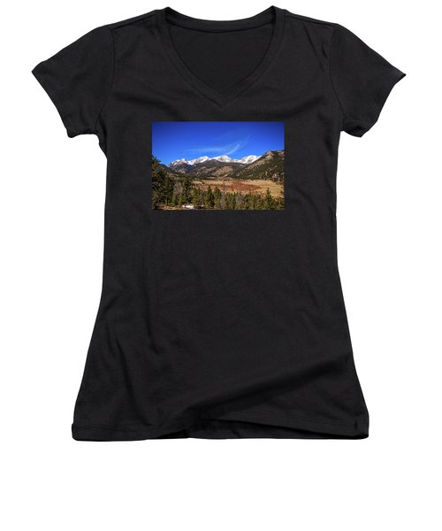Women's V-Neck T-Shirt (Junior Cut) featuring the photograph Mountain View From Fall River Road In Rocky Mountain National Pa by Peter Ciro