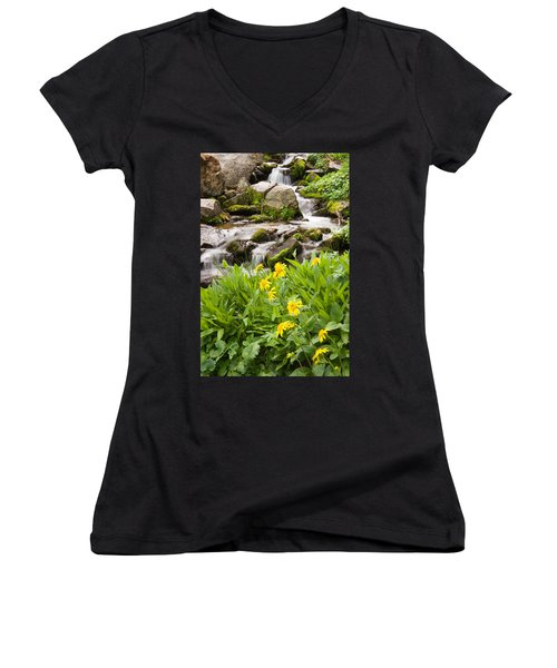 Mountain Waterfall And Wildflowers Women's V-Neck T-Shirt (Junior Cut) by Utah Images