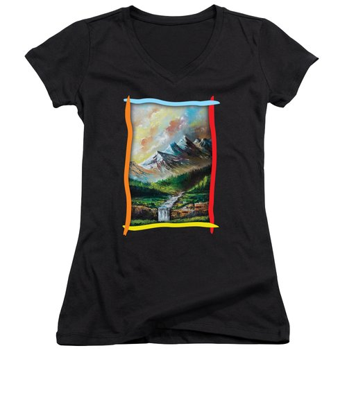 Mountains And Falls Women's V-Neck