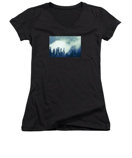 Mountains And Fog Women's V-Neck T-Shirt (Junior Cut) by Michele Cornelius