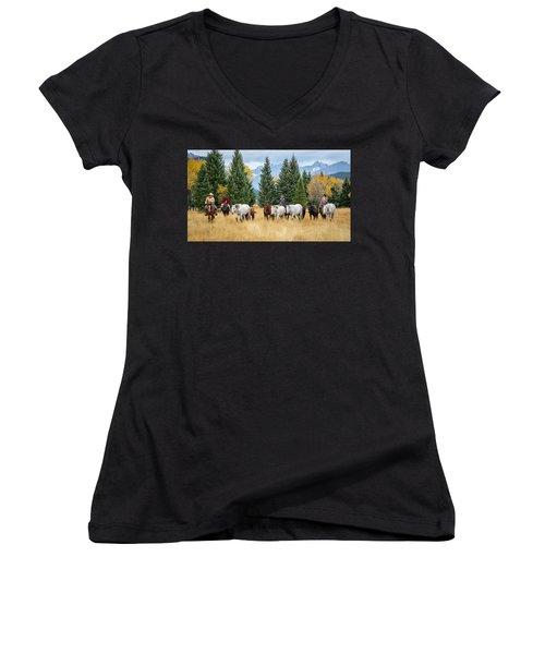 Moving The Herd Women's V-Neck T-Shirt