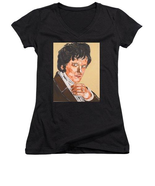 Mr. Darcy Women's V-Neck T-Shirt (Junior Cut) by Valerie Ornstein