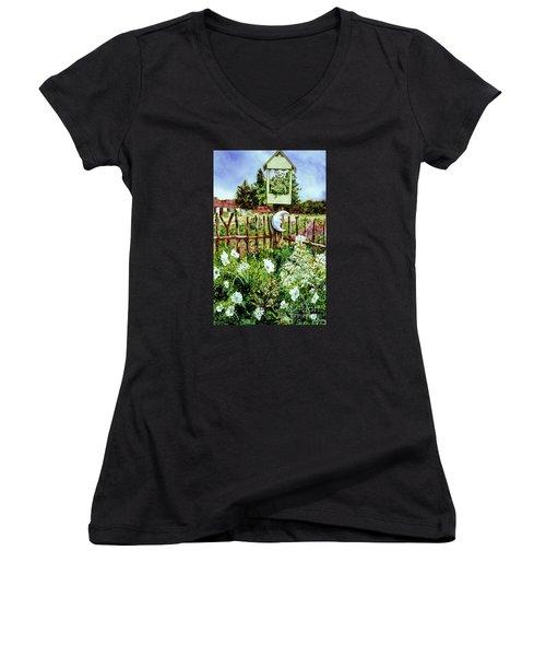 Mr Moon's Garden Women's V-Neck T-Shirt