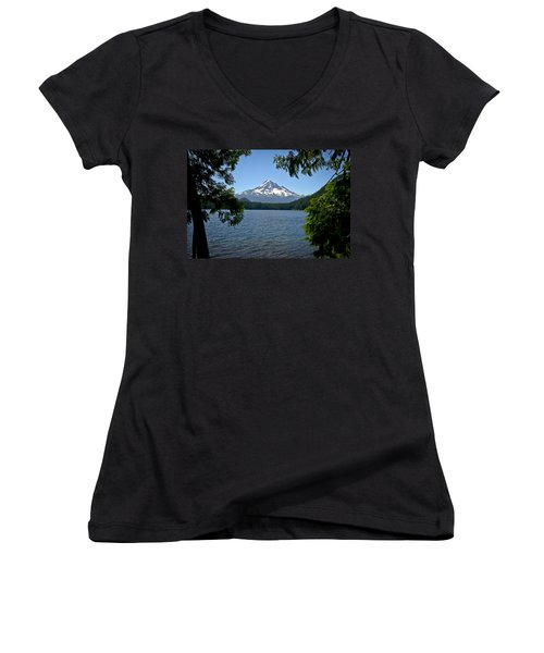 Mt Hood Over Lost Lake Women's V-Neck (Athletic Fit)