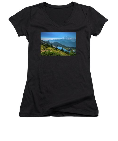 Mt. Rainier And Eunice Lake Women's V-Neck (Athletic Fit)