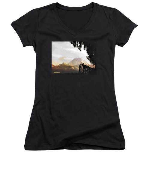 Women's V-Neck T-Shirt (Junior Cut) featuring the photograph Mt. Rainier In Lace by Sadie Reneau