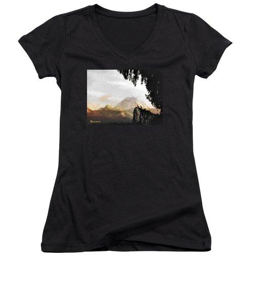 Mt. Rainier In Lace Women's V-Neck T-Shirt