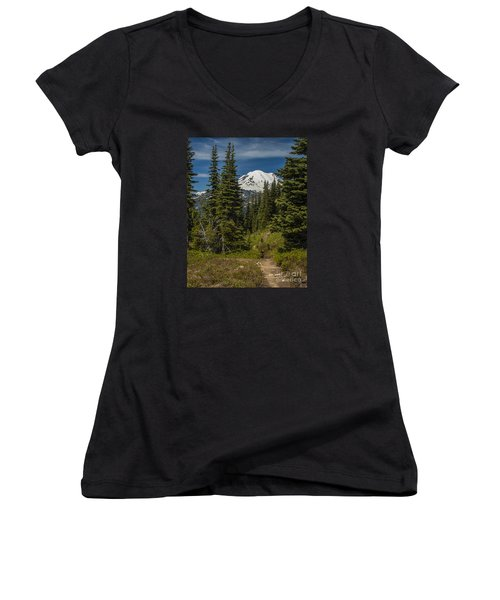 Mt. Rainier Naches Trail Portrait Women's V-Neck T-Shirt
