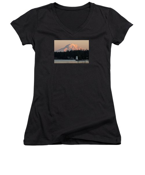 Mt. Rainier Sunset Glow Women's V-Neck T-Shirt
