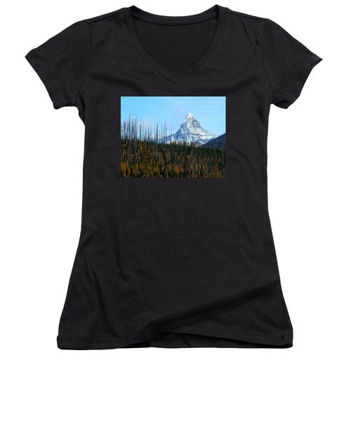 Mt St Nicolas After The Fire Women's V-Neck (Athletic Fit)
