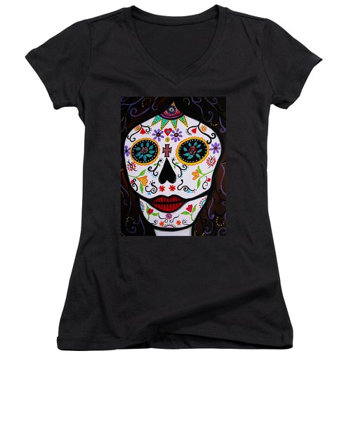 Women's V-Neck T-Shirt (Junior Cut) featuring the painting Muertos by Pristine Cartera Turkus