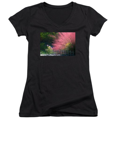 Women's V-Neck T-Shirt (Junior Cut) featuring the photograph Muhly Grass by Kathryn Meyer