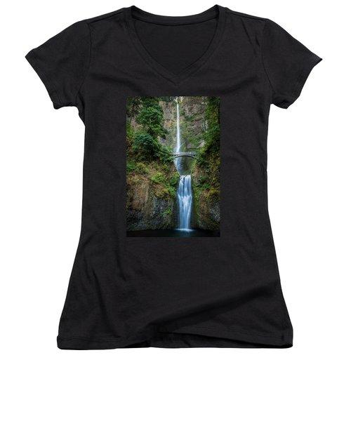 Multnomah Falls Women's V-Neck T-Shirt (Junior Cut) by Chris McKenna