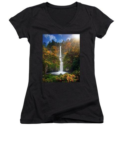 Multnomah Falls In Autumn Colors -panorama Women's V-Neck T-Shirt (Junior Cut) by William Lee
